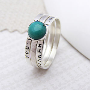 Personalised Turquoise Stacking Ring
