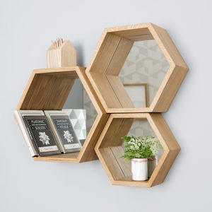 Hexagon Mirror Shelves - home decorating
