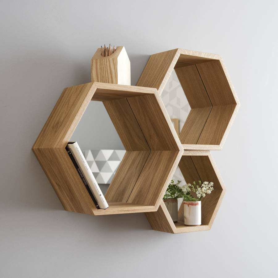 hexagon mirror shelves by james design. Black Bedroom Furniture Sets. Home Design Ideas
