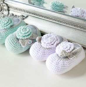 Bamboo Baby Shoes With Pearl Details