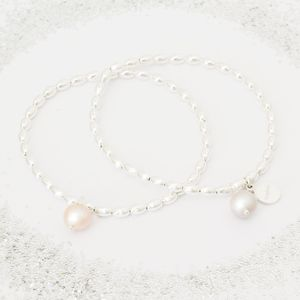 Araminta Pearl And Silver Personalised Bracelet