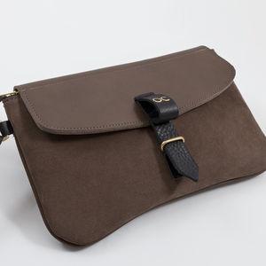 Olive Suede Clutch Bag - clutch bags