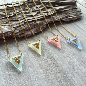 Acrylic And Glitter Geometric Flag Necklace - necklaces & pendants