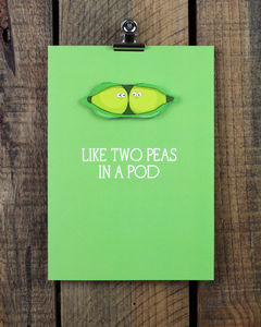 'Like Two Peas In A Pod' Personalised Greeting Card