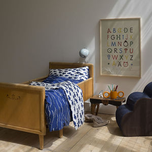 Fish And Waves Reversible Organic Cotton Bed Set - soft furnishings & accessories