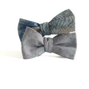 Reversible Bow Tie In Tropical Print And Linen