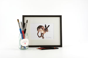 Hare Print, Running Hare - animals & wildlife