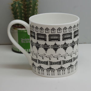 Illustrated Brighton Beach Hut Mug