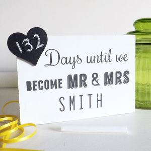 Wedding Countdown Chalkboard - engagement gifts