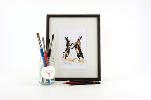 Hare Print, Boxing Bout - contemporary art