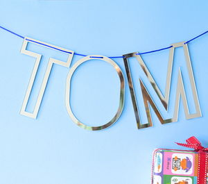 Personalised Alphabet Silver Mirror Bunting - home accessories