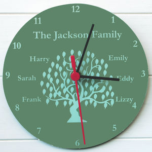 Family Tree Clock - living room