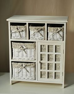 Five Wicker Drawer Storage Cabinet