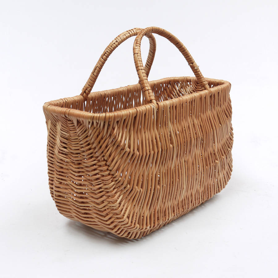 wicker shopping basket two handles by prestige wicker. Black Bedroom Furniture Sets. Home Design Ideas