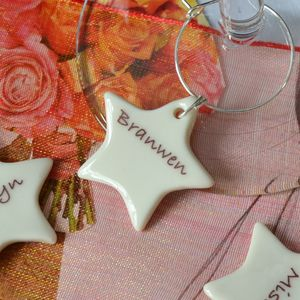 Set Of Five Personalised Star Glass Charms - wedding favours