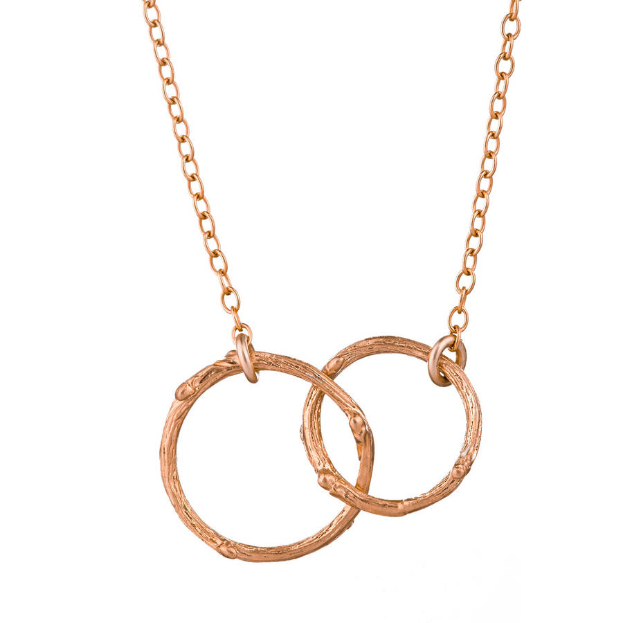 Hawthorn Twig Double Circle Infinity Necklace Rose Gold
