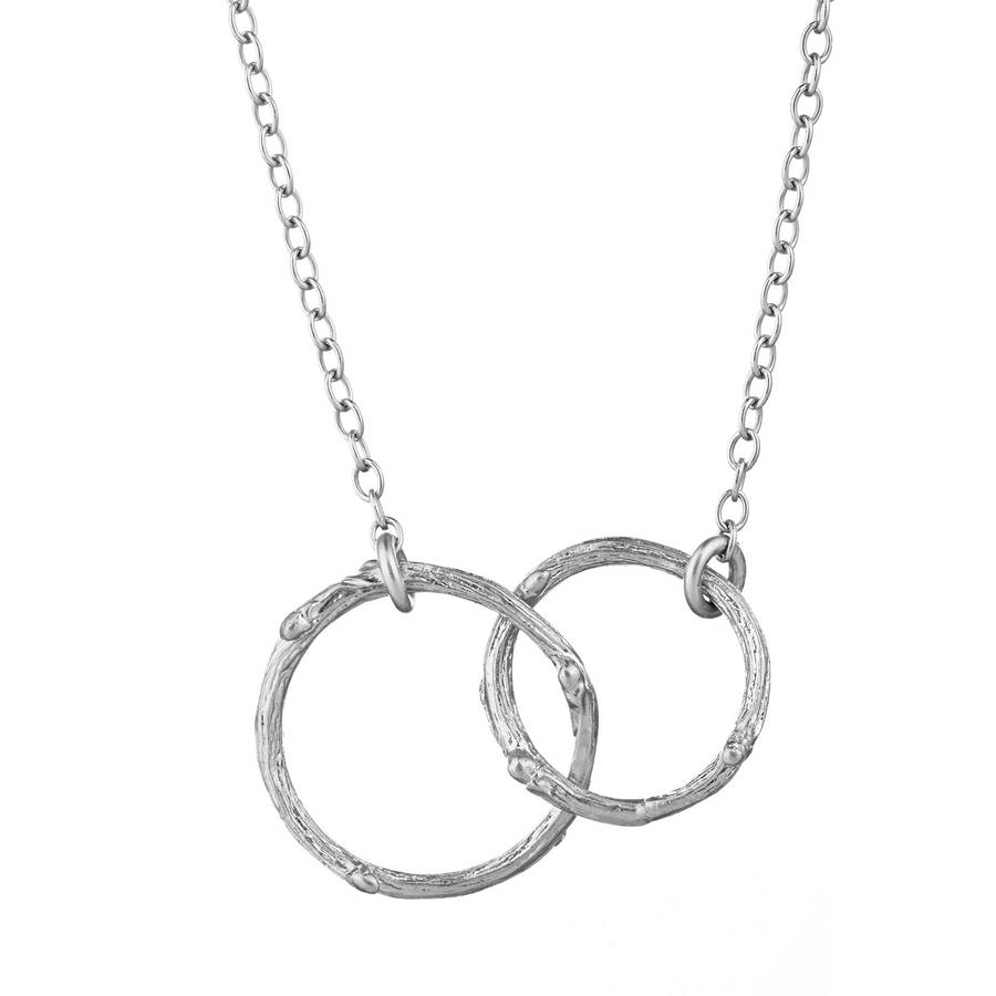 Hawthorn Twig Double Circle Infinity Necklace Silver