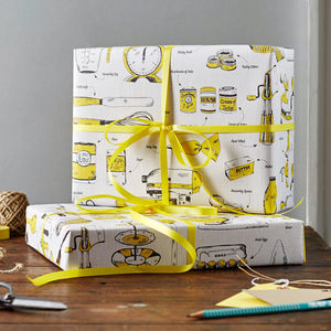 Baking Delight Gift Wrap Pack Of Six - gift wrap sets