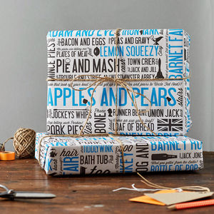 Cockney Rhyming Slang Gift Wrap Pack Of Six - shop by category