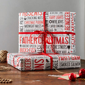 Festive Fun Gift Wrap Pack Of Six - wrapping
