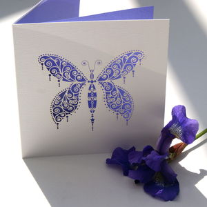 Butterfly Laser Cut Square Card - wedding cards
