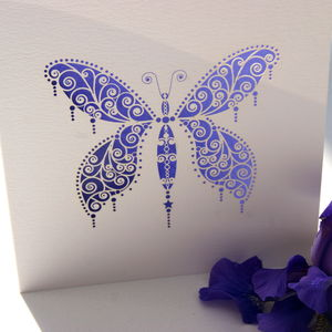 Butterfly Laser Cut Square Card - wedding, engagement & anniversary cards
