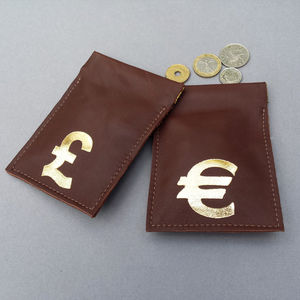 Leather Coin Pouch In Chocolate Brown - gifts for him