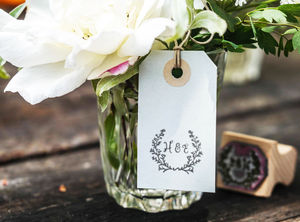 Botanical Wedding Monogram Stamp
