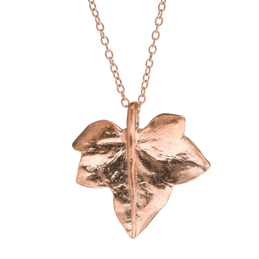 Chupi Wild Ivy Leaf Necklace Rose Gold