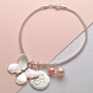 Butterfly Charm Bracelet With Birthstones - personalised