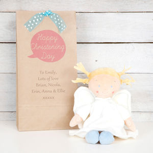 Personalised Gift Bag With Plush Angel - soft toys & dolls
