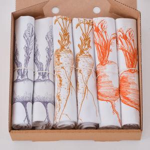 Set Of Six Screenprinted Vegetable Napkins - tableware