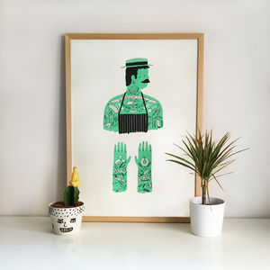 The Butcher Tattoo Screen Print - posters & prints