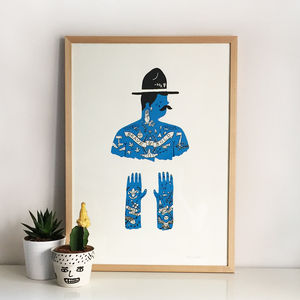 The Scoutmaster Tattoo Screen Print - posters & prints