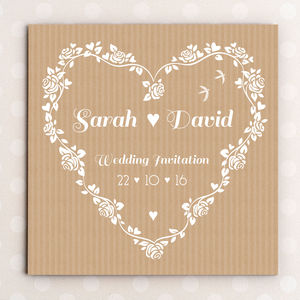 Floral Heart Wedding Invitation - wedding stationery
