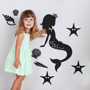 Underwater Mermaid And Starfish Wall Sticker - wall stickers
