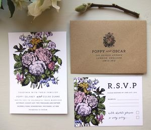 Country Flower Wedding Invitation Set - spring florals
