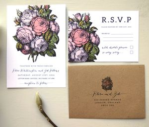 Country Flowers In Bloom Wedding Invitation Set