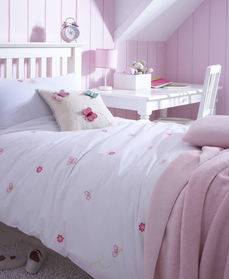 Butterfly Embroidered Bed Linen By The Fine Cotton Company