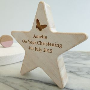 Personalised Butterfly Christening Wooden Star Keepsake