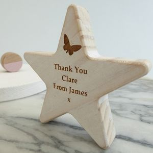 Personalised Butterfly Thank You Wooden Star Keepsake