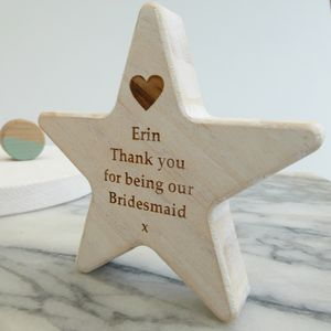 Personalised Bridesmaid Thank You Wooden Star Keepsake