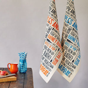 Cockney Rhyming Slang Tea Towel - kitchen linen