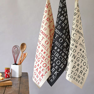 London Tube Stops Tea Towel - kitchen accessories