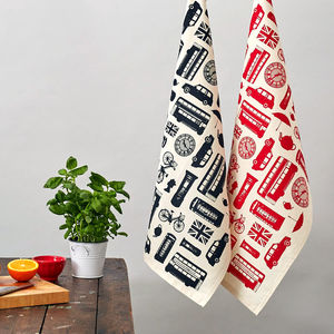 Great British Outline Tea Towel - kitchen linen