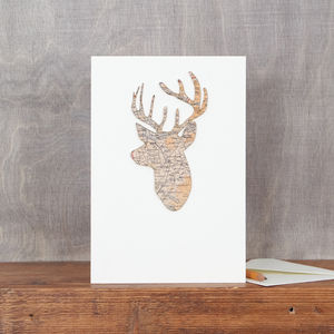 Map Location Stag's Head Christmas Card - blank cards