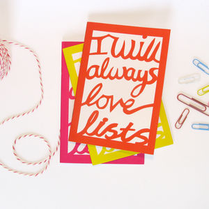 'I Will Always Love Lists' Notebook