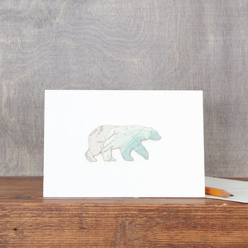 Vintage Map Polar Bear Card