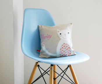 Pink Personalised Cat Cushion
