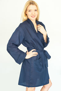 Cotton Short Kimono In Solid Navy